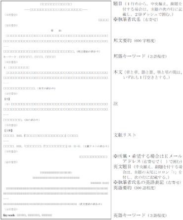図示:執筆規程 I.原稿の書式 5.(1)構成